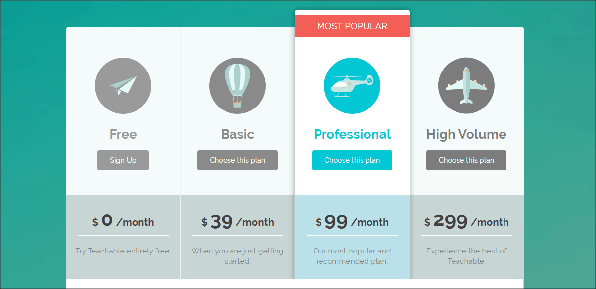 Teachable's Pricing Options